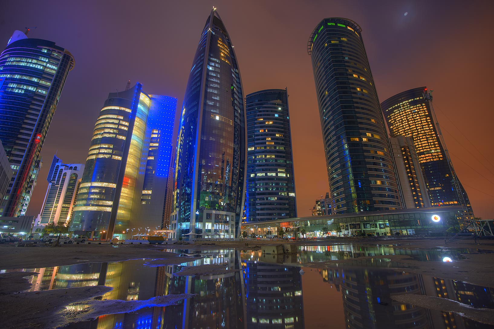 Woqod and Al Fardan towers in West Bay after a rain. Doha, Qatar
