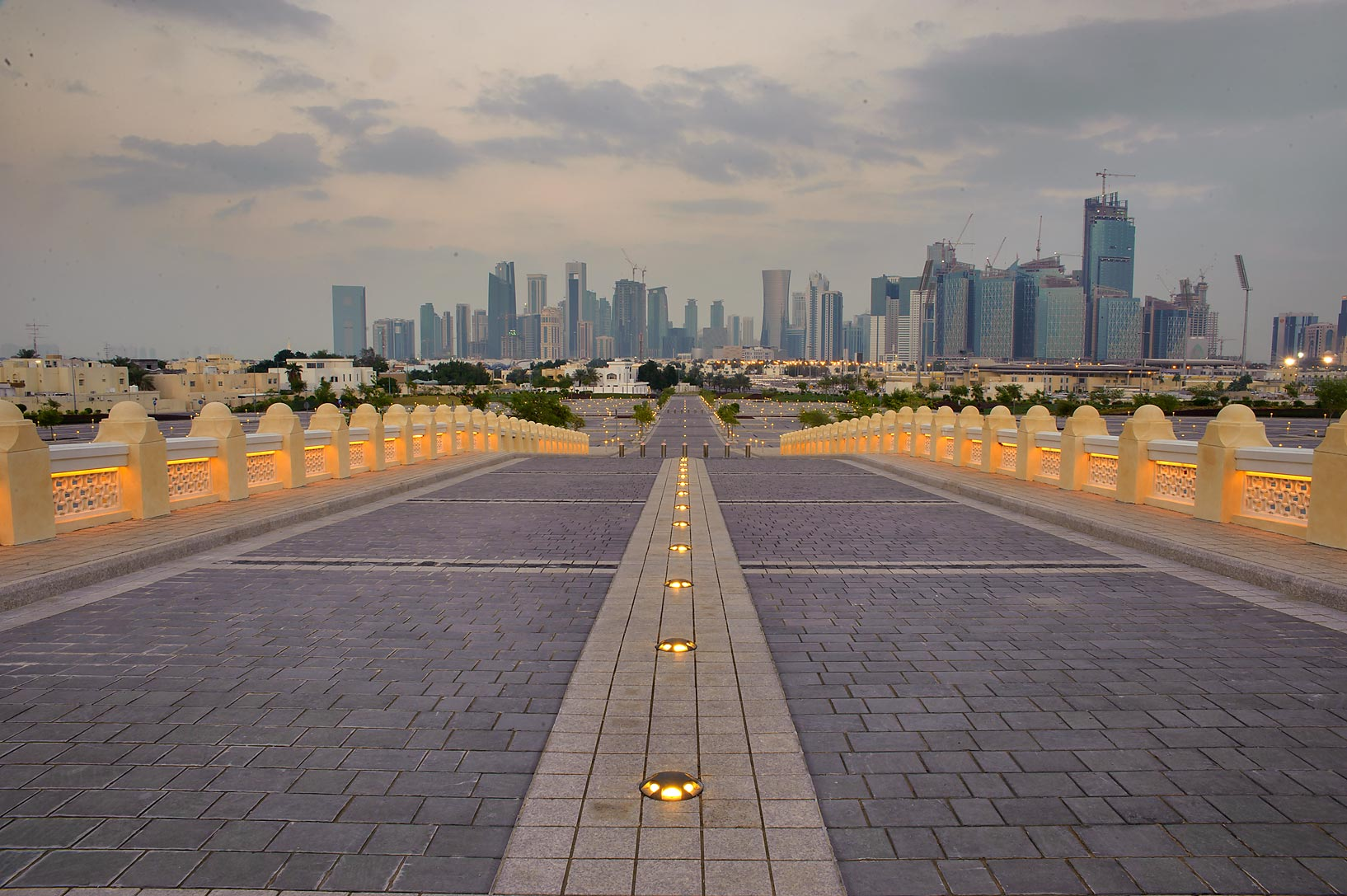 View of West Bay from a ramp east from State...Ibn Abdul Wahhab Mosque). Doha, Qatar