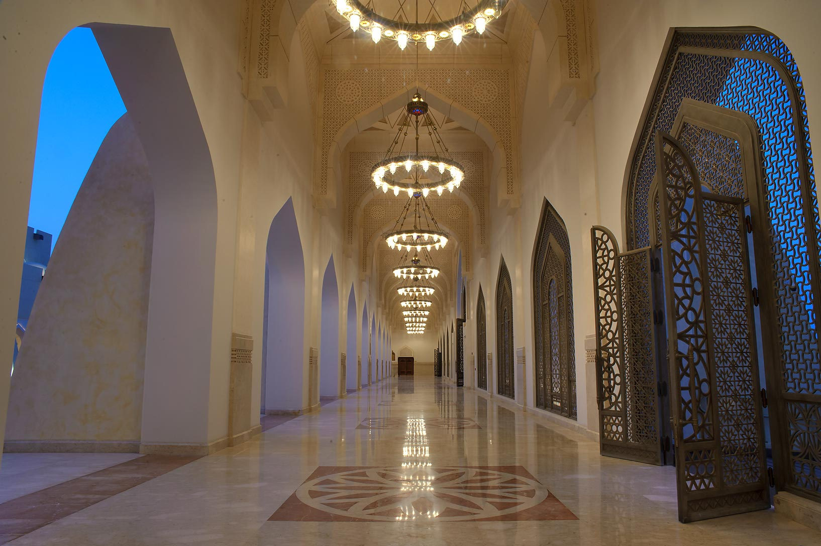 Arched entrance of courtyard of State Mosque...Ibn Abdul Wahhab Mosque). Doha, Qatar