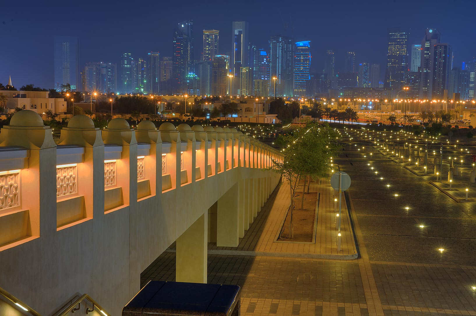 Eastern ramp of State Mosque (Sheikh Muhammad Ibn...Wahhab Mosque) at evening. Doha, Qatar