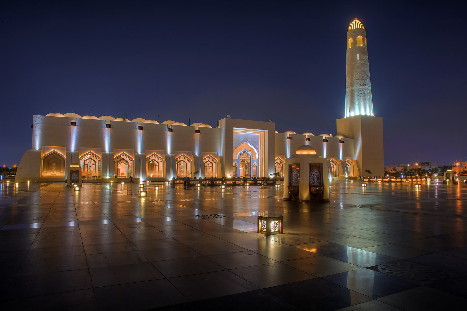 Lights of State Mosque (Sheikh Muhammad Ibn Abdul...from eastern platform. Doha, Qatar