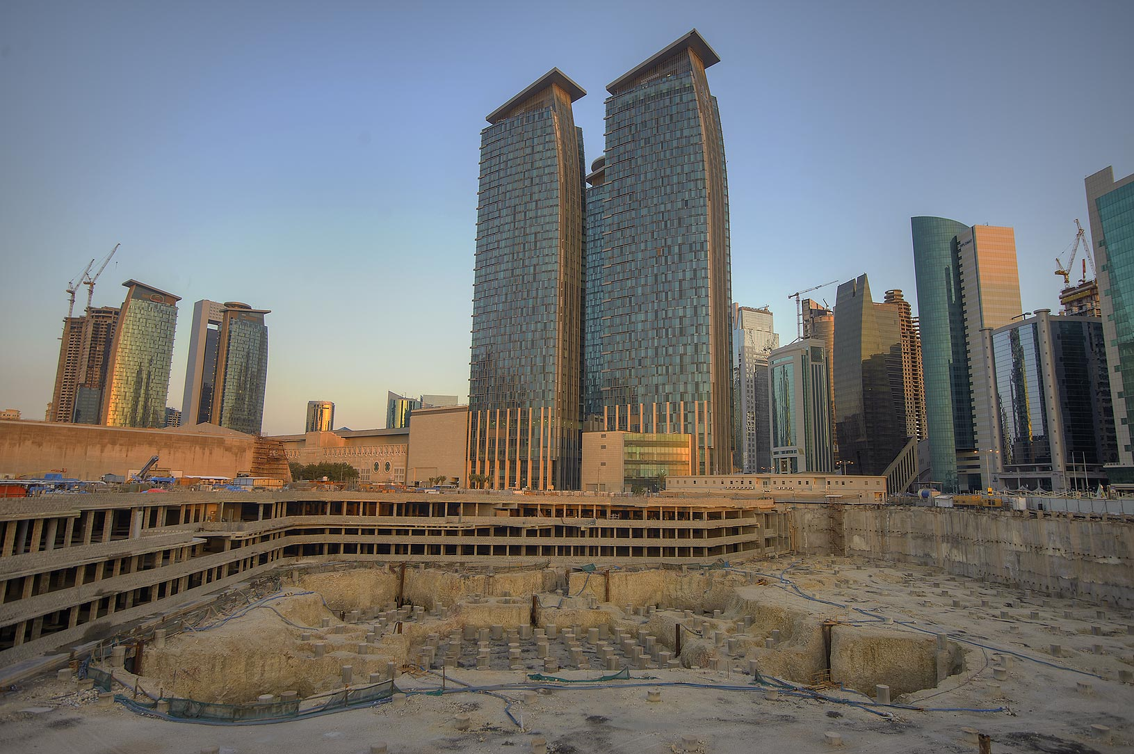 Exhibition and Convention Center (under...from Al Dafna Roundabout. Doha, Qatar