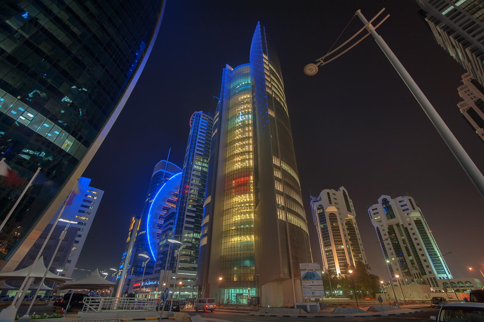 Area of Nakheel Tower in West Bay at evening. Doha, Qatar