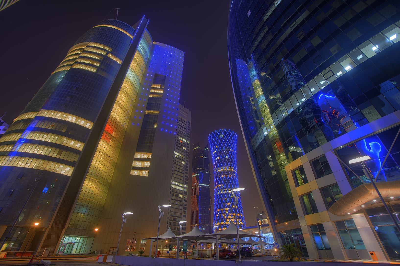 Nakheel and Woqod towers in West Bay at evening. Doha, Qatar