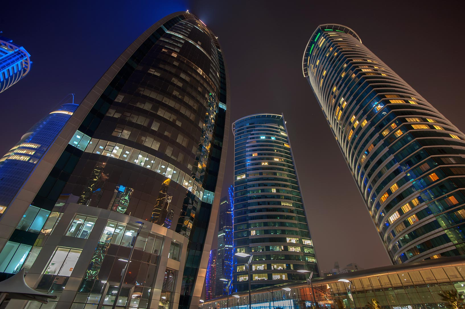 Woqod and Al Fardan Twin towers in West Bay. Doha, Qatar