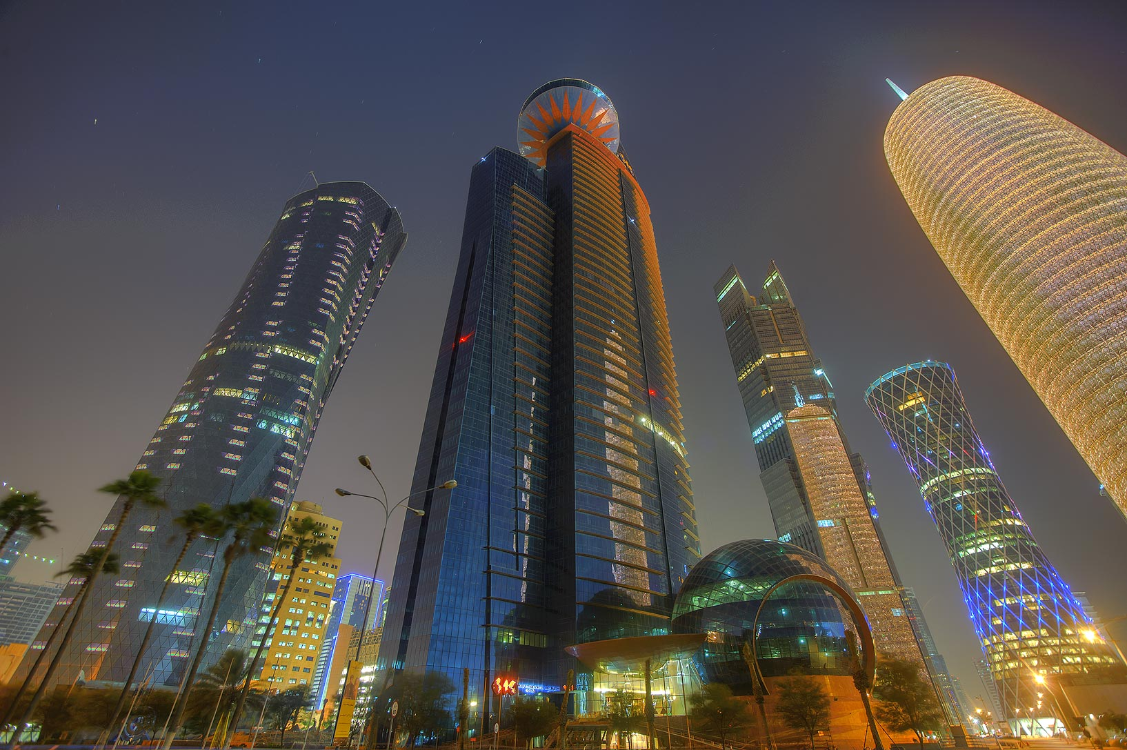Word Trade Center in West Bay, view from Corniche. Doha, Qatar