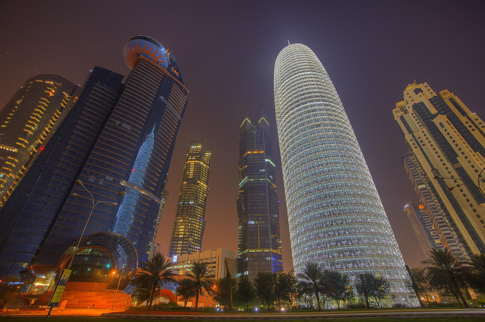 Word Trade Center and Burj Qatar towers in West Bay, view from Corniche. Doha, Qatar