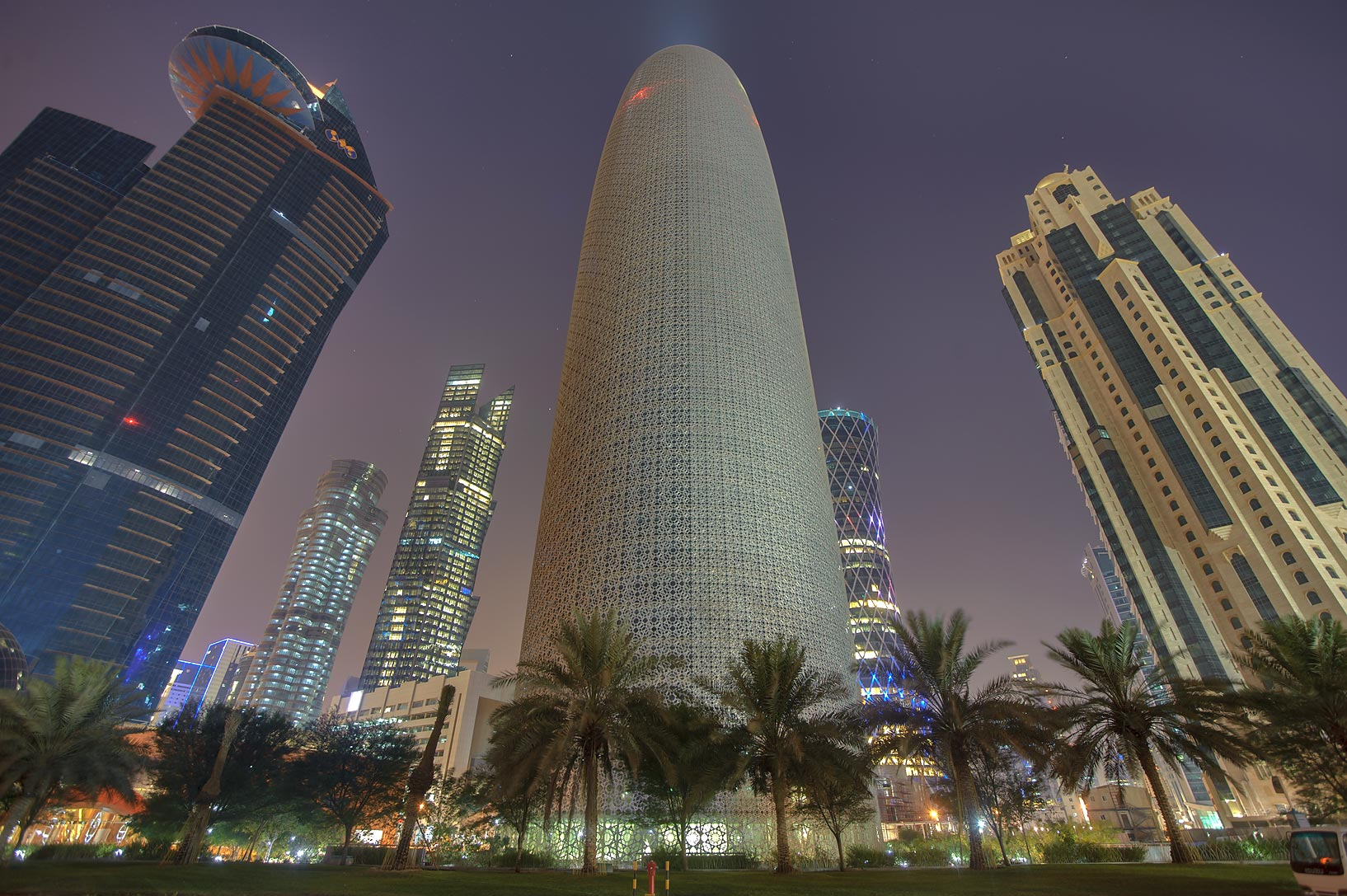 Word Trade Center, Burj Qatar, and Al Jassimiya...Bay, view from Corniche. Doha, Qatar