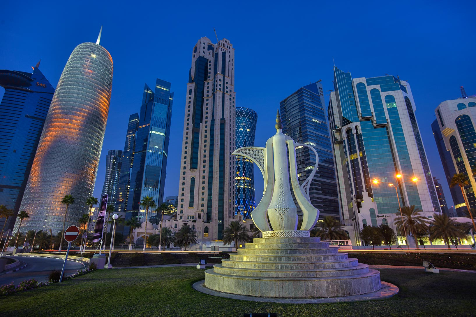 Giant teapot sculpture (dallah, or coffee pot...Sheraton Park at morning. Doha, Qatar
