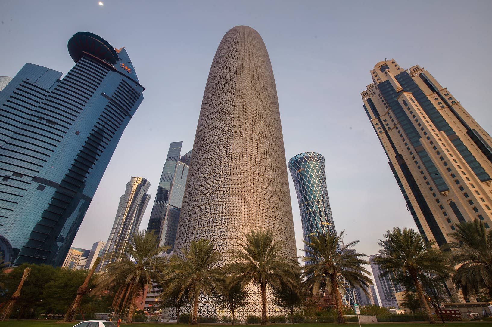 Word Trade Center, Burj Qatar, and Al Jassimiya...view from Corniche. Doha, Qatar