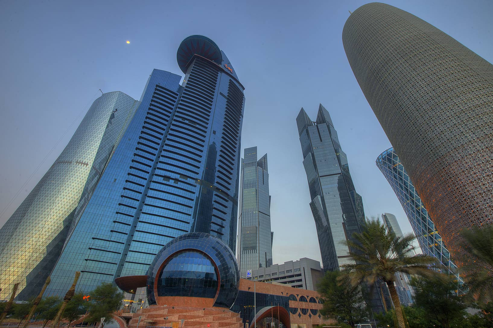 Word Trade Center and Burj Qatar towers in West...view from Corniche. Doha, Qatar