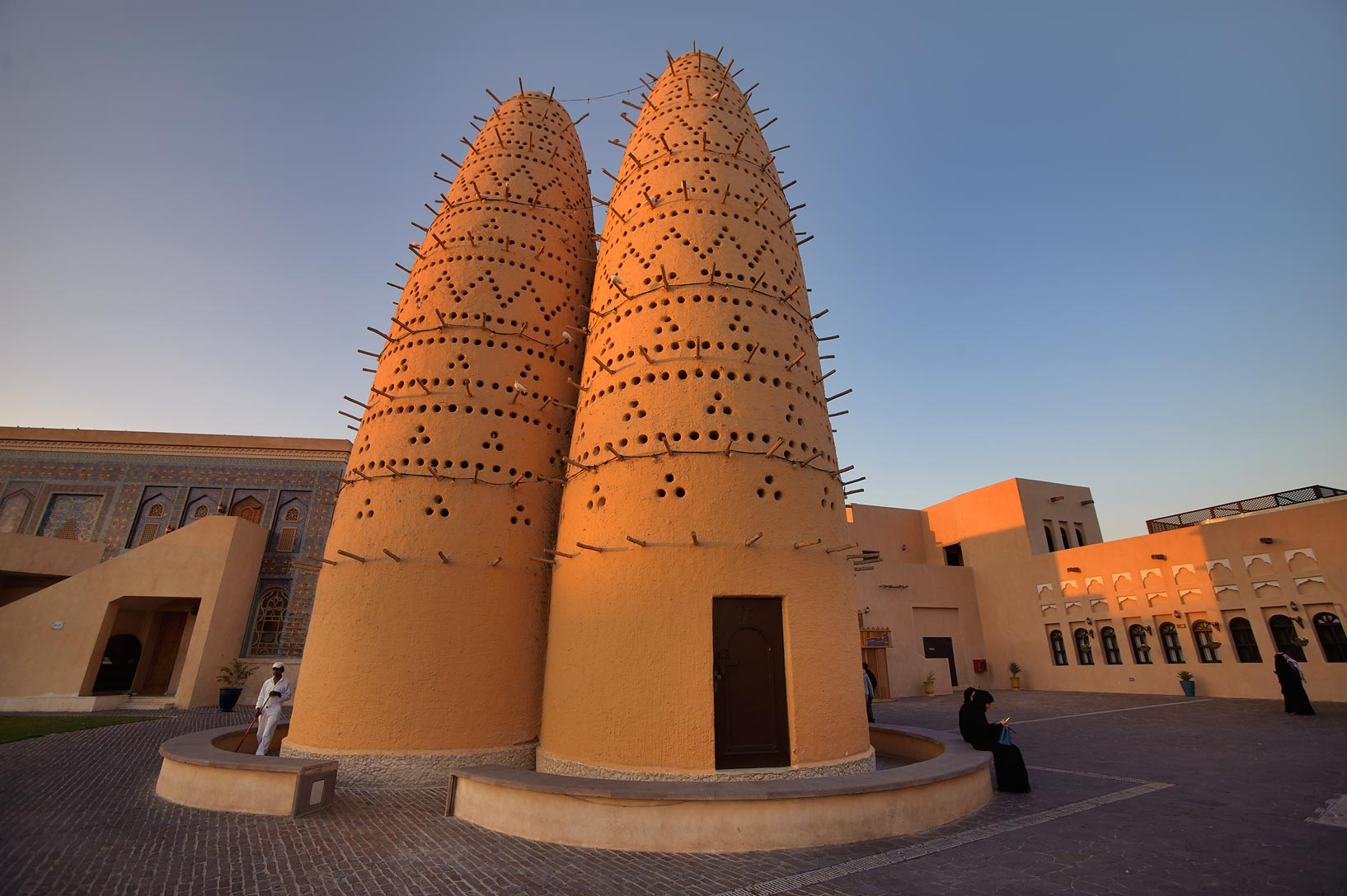 Dovecot in Katara Cultural Village at sunset. Doha, Qatar