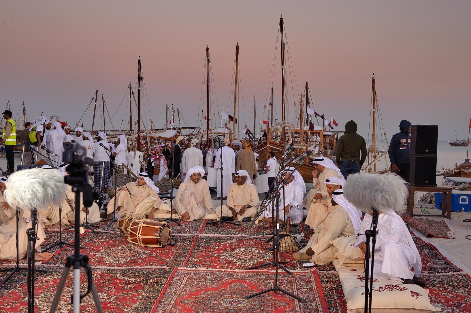 Gathering in Traditional Dhow Festival in Katara Cultural Village. Doha, Qatar