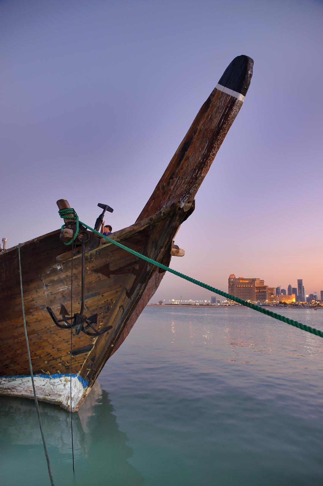 Boat prow at Traditional Dhow Festival in Katara Cultural Village. Doha, Qatar