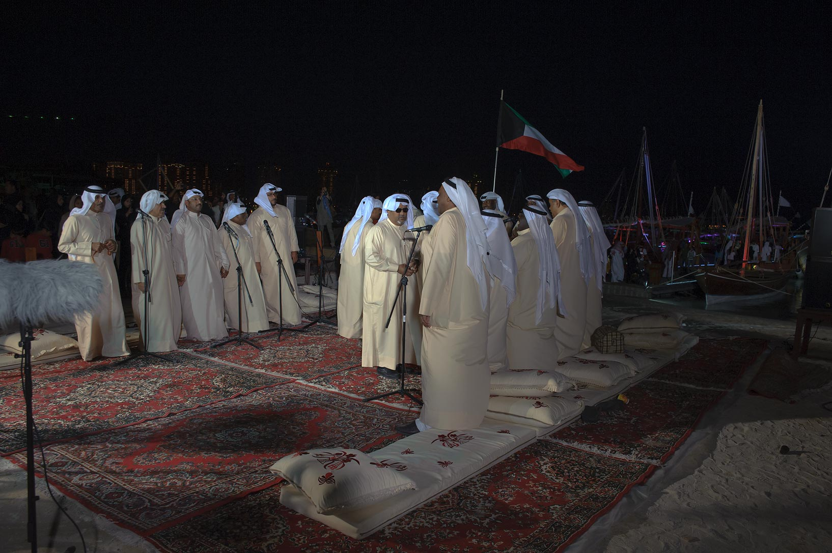 Singing at Traditional Dhow Festival in Katara Cultural Village. Doha, Qatar