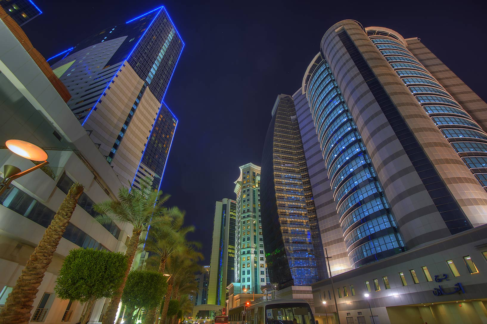 Ezdan and Taawun towers at Al Betra St. in West Bay. Doha, Qatar