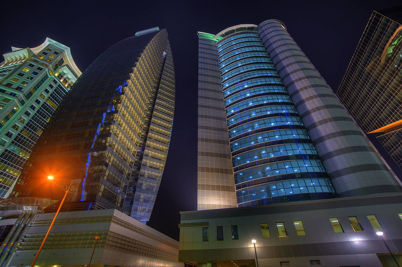 Taawun and Al Huda Engineering Works towers at Al Betra St. in West Bay. Doha, Qatar