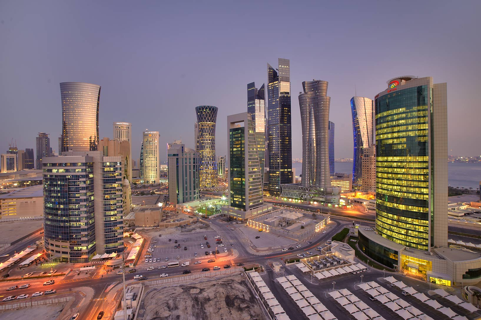 Area of West Bay from Room 1604 of Dareen Tower at evening. Doha, Qatar