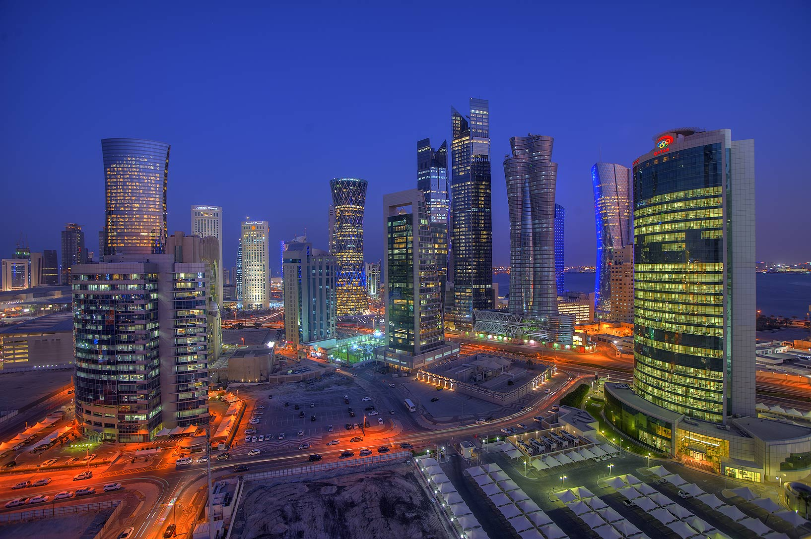 Area of West Bay east from Room 1604 of Dareen Tower at evening. Doha, Qatar