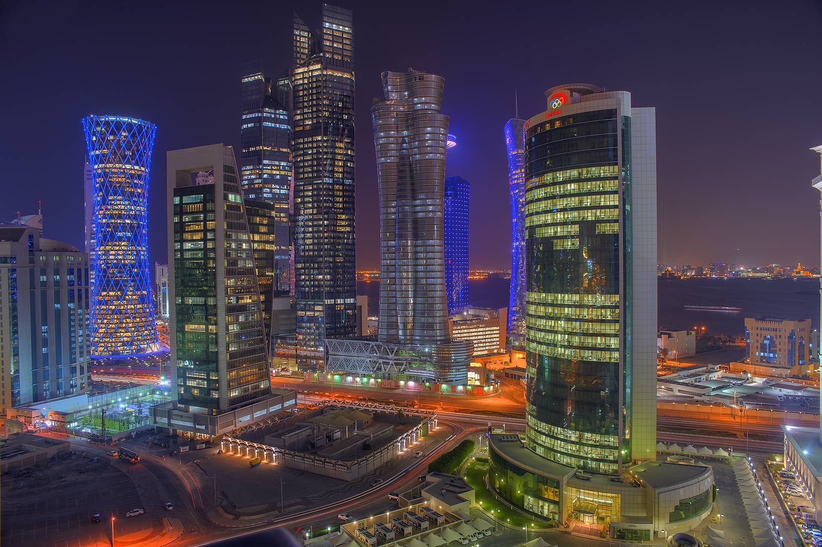 Area of West Bay and Olympic Tower east from Room...Dareen Tower at evening. Doha, Qatar