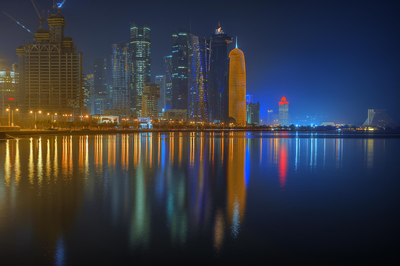 West Bay from Corniche promenade at morning. Doha, Qatar