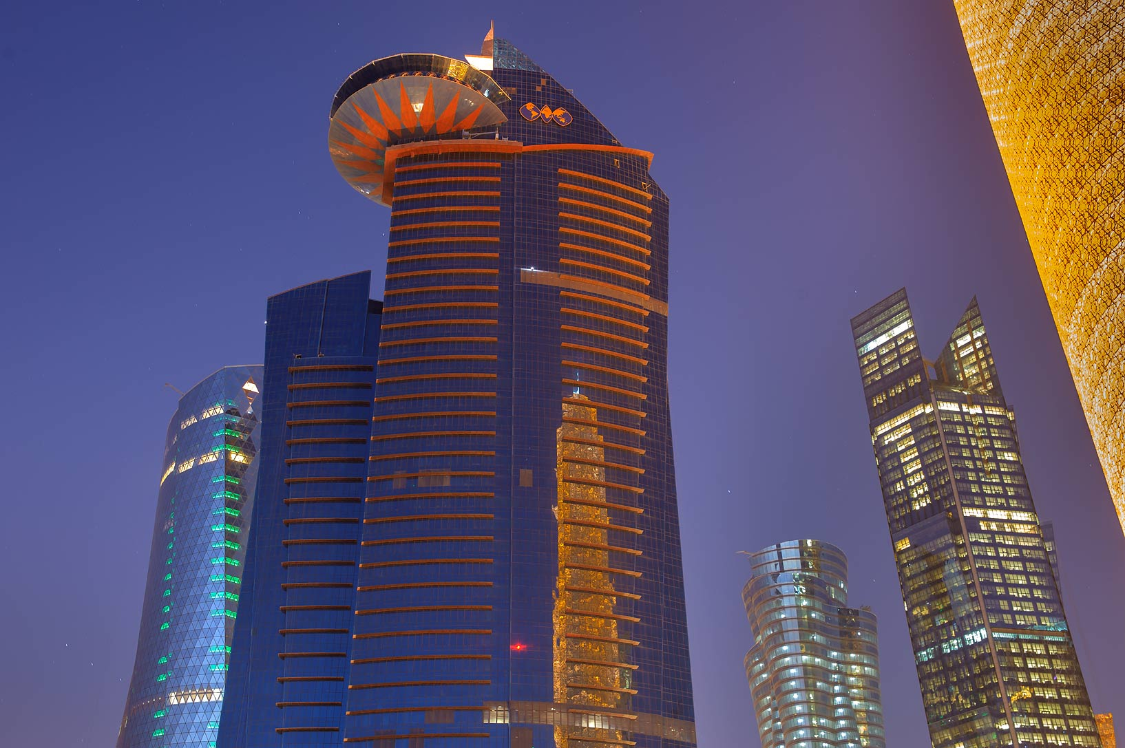 WTC and Palm towers in West Bay from Corniche promenade at morning. Doha, Qatar