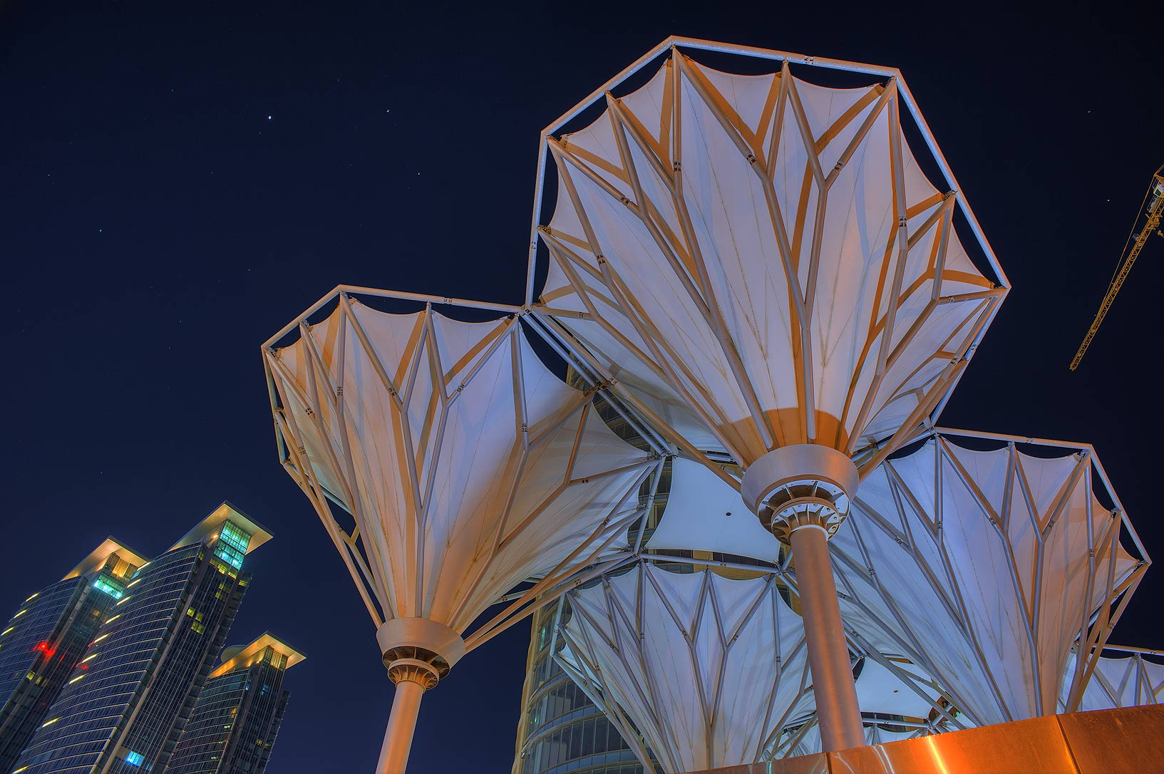 Parasols of Dafna Roundabout in West Bay. Doha, Qatar