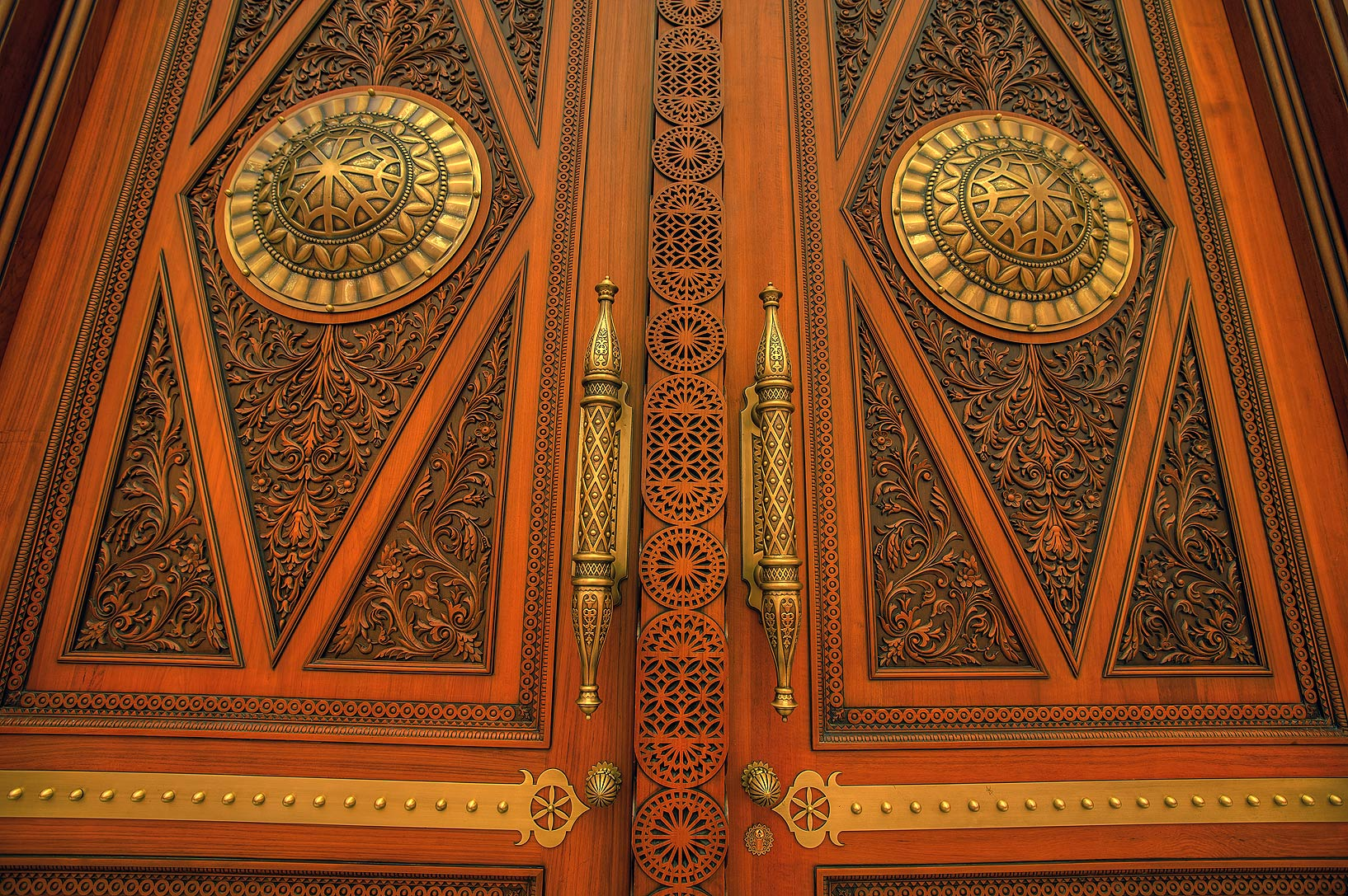 Wooden doors of State Mosque (Sheikh Imam Muhammad Ibn Abdul Wahhab Mosque). Doha, Qatar