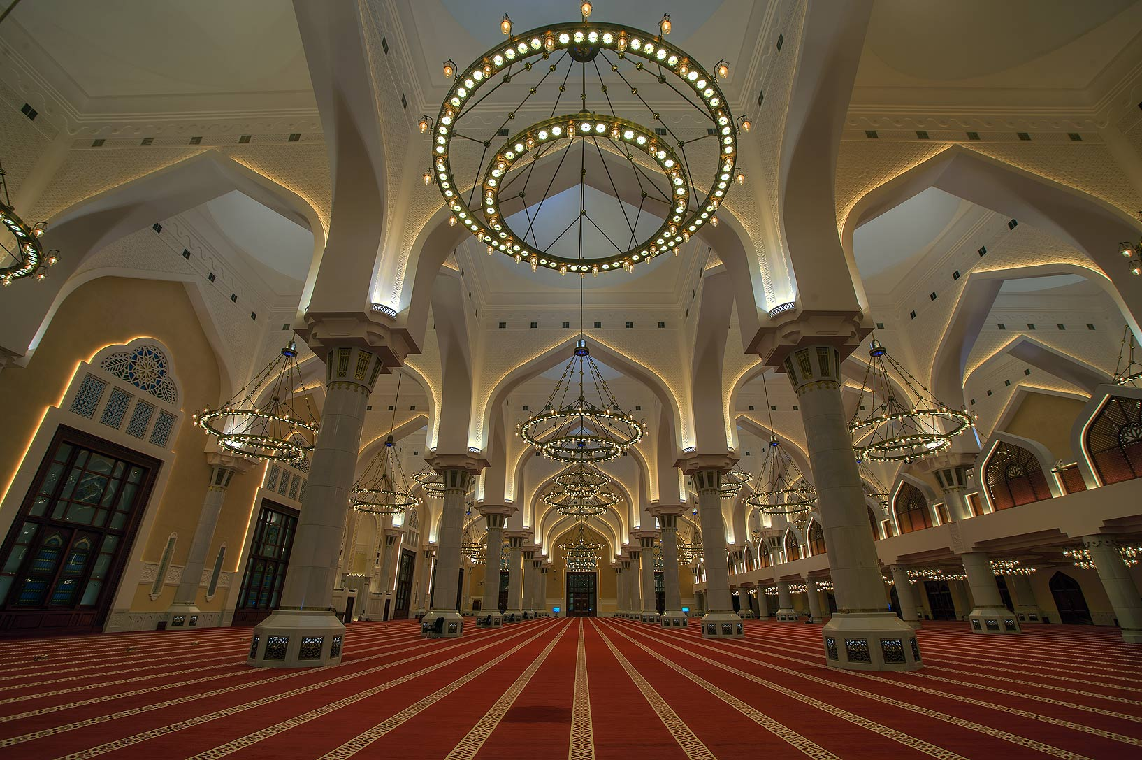 Chandelier of State Mosque (Sheikh Imam Muhammad Ibn Abdul Wahhab Mosque). Doha, Qatar