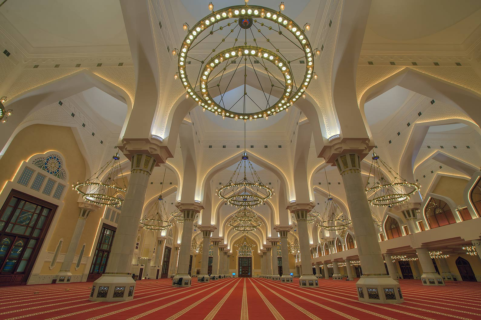 Arches and chandelier of State Mosque (Sheikh...Ibn Abdul Wahhab Mosque). Doha, Qatar