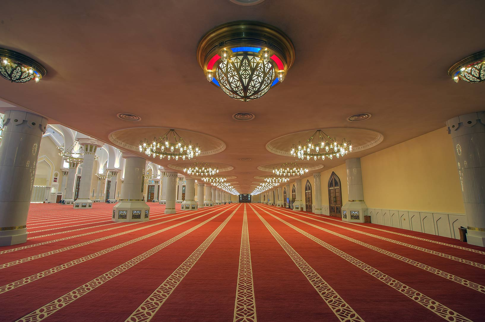 Entrance space in prayer hall (musallah) of State...Ibn Abdul Wahhab Mosque). Doha, Qatar