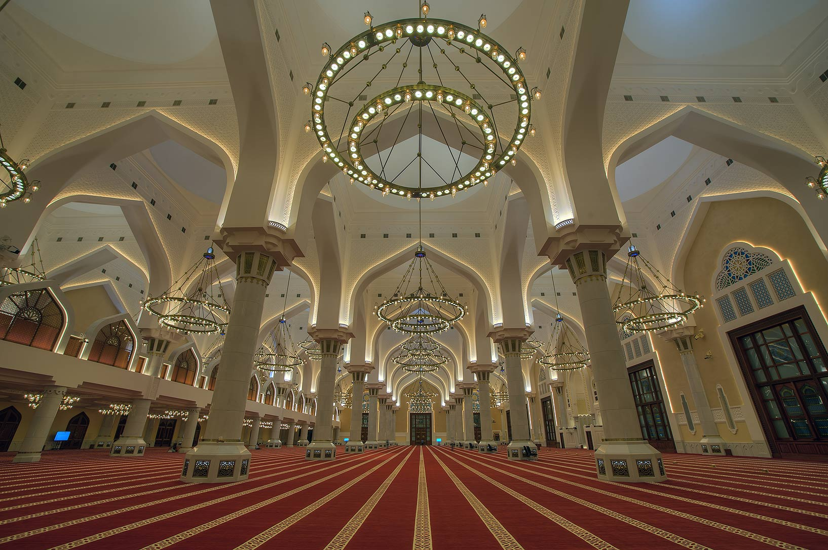 Prayer hall of State Mosque (Sheikh Imam Muhammad Ibn Abdul Wahhab Mosque). Doha, Qatar