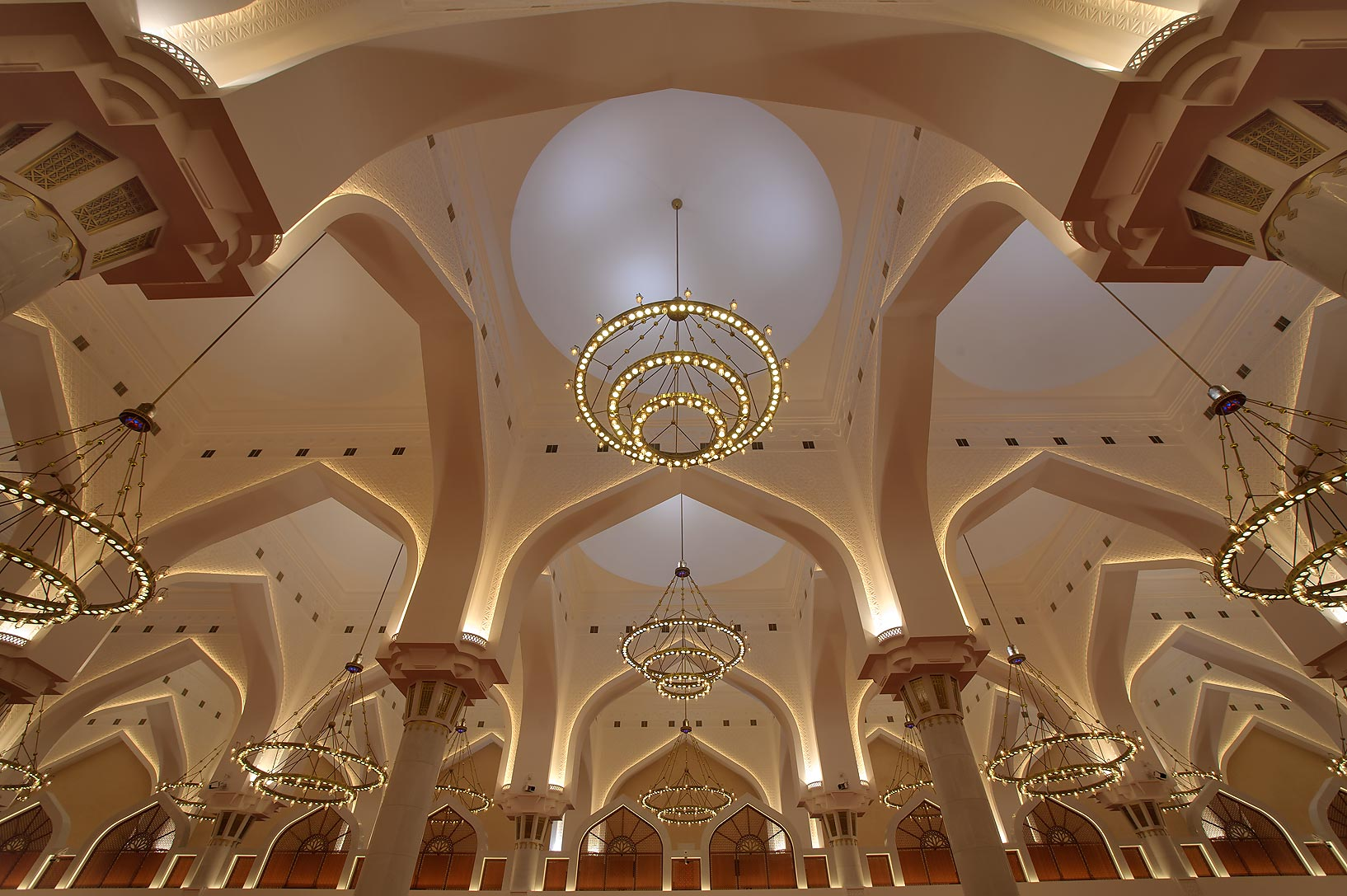 Vaults and chandelier of State Mosque (Sheikh...Ibn Abdul Wahhab Mosque). Doha, Qatar