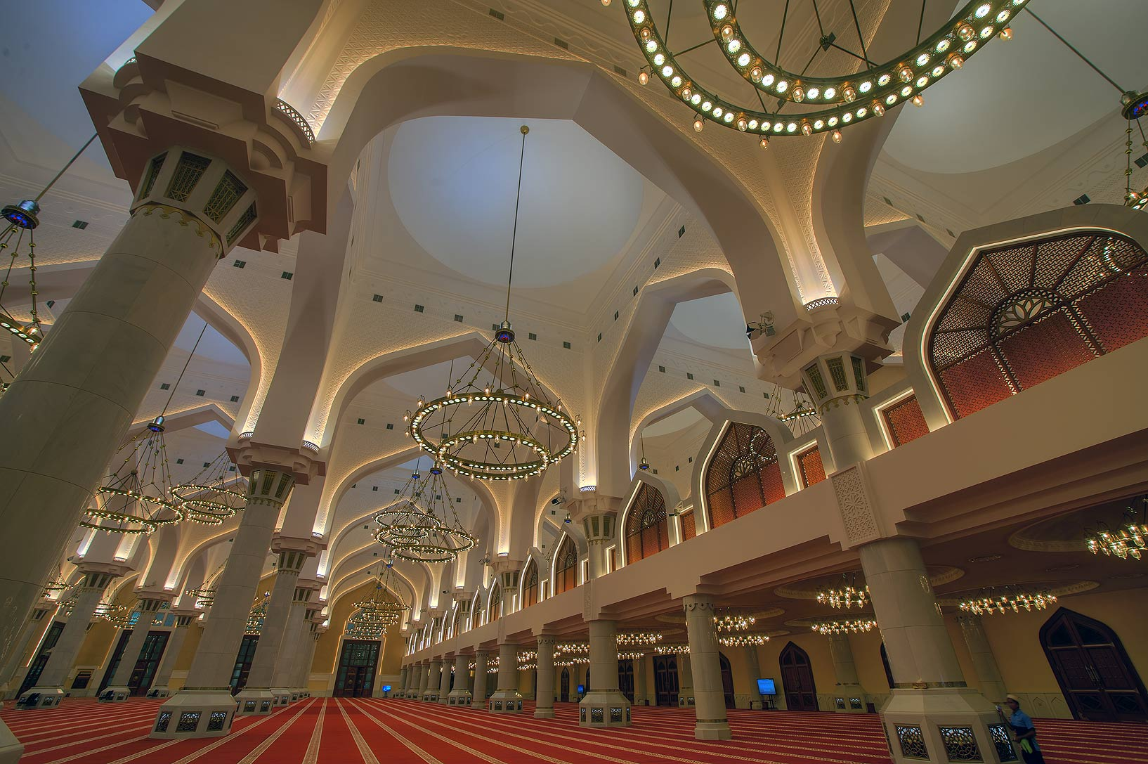 Arches and columns of State Mosque (Sheikh Imam...Ibn Abdul Wahhab Mosque). Doha, Qatar