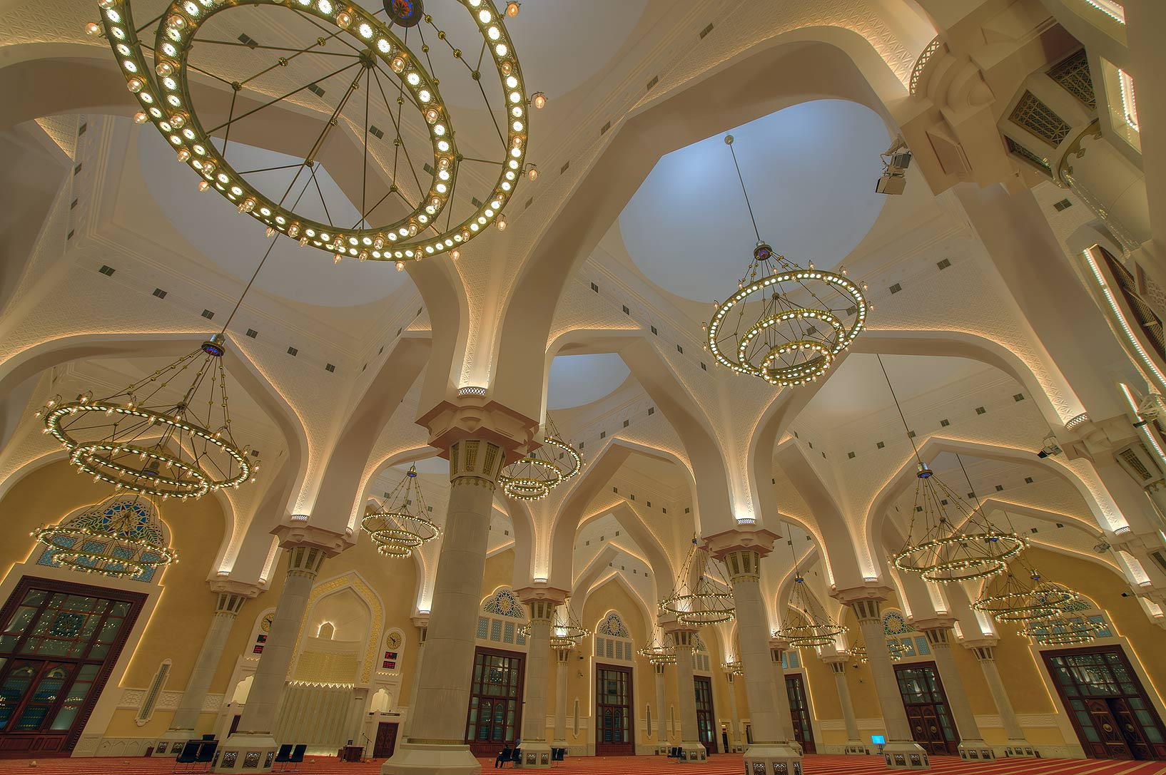 Prayer hall (musallah) of State Mosque (Sheikh...Ibn Abdul Wahhab Mosque). Doha, Qatar