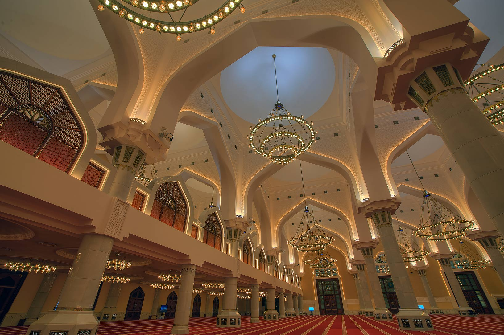 Large hall with columns and chandeliers inside...Ibn Abdul Wahhab Mosque). Doha, Qatar