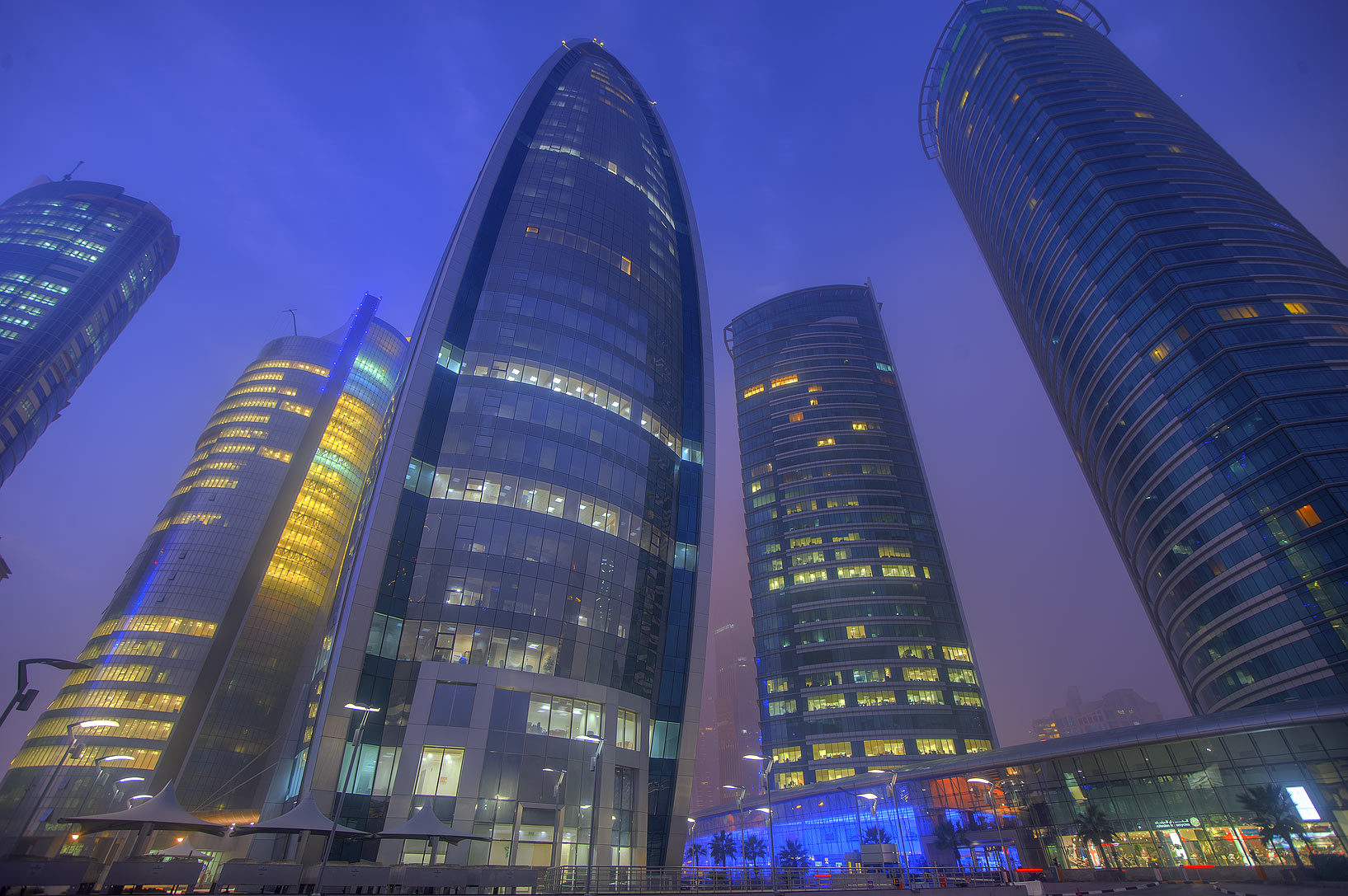 Woqod and Al Fardan towers in West Bay. Doha, Qatar