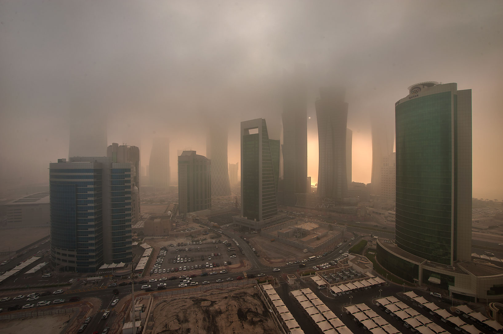 Area of West Bay from Room 1604 of Dareen Tower in fog. Doha, Qatar