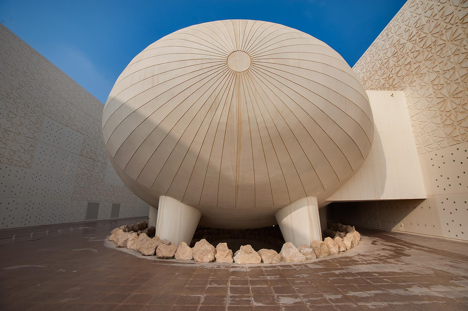 Ovoid lecture hall of Weill Cornell Medical College in Education City campus. Doha, Qatar