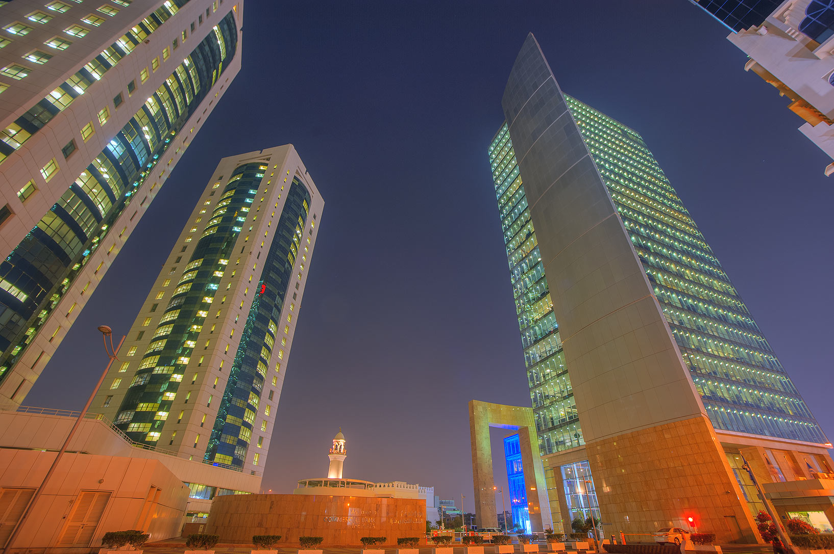 IctQatar and Commercial Bank Towers. Doha, Qatar