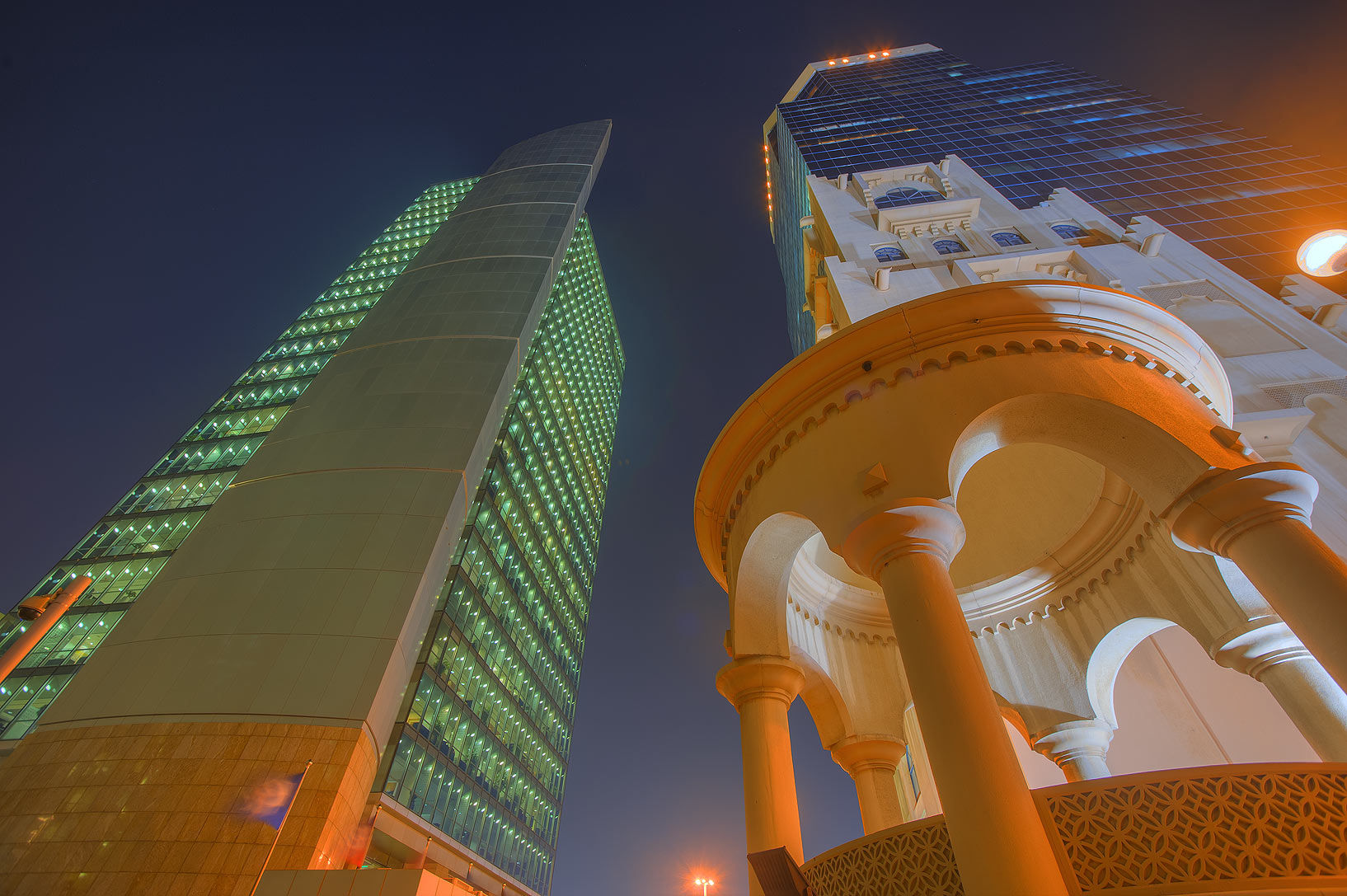 Commercial Bank and Ministry of Labour and Social Affairs towers. Doha, Qatar