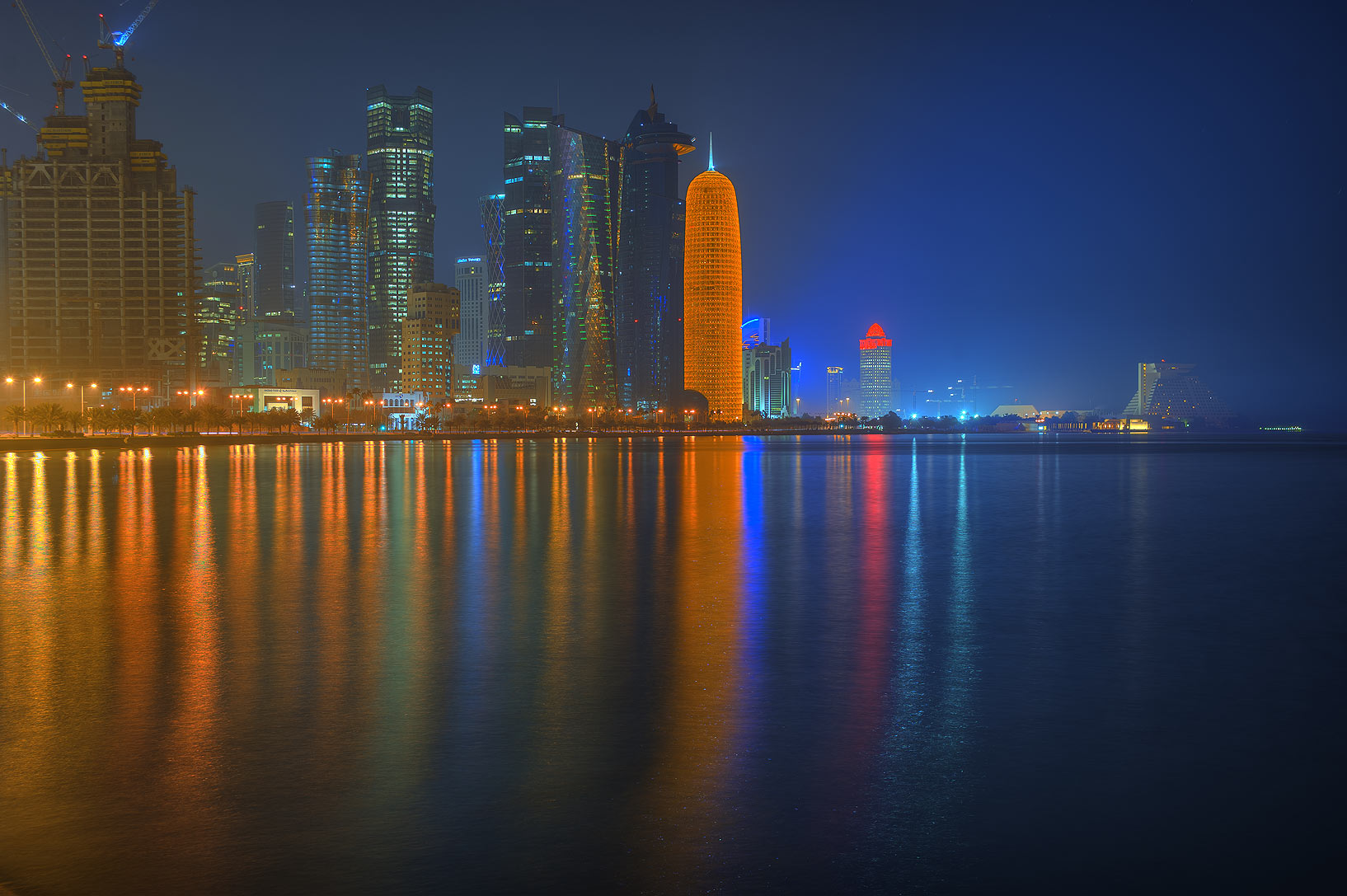 West Bay lights from Corniche promenade. Doha, Qatar
