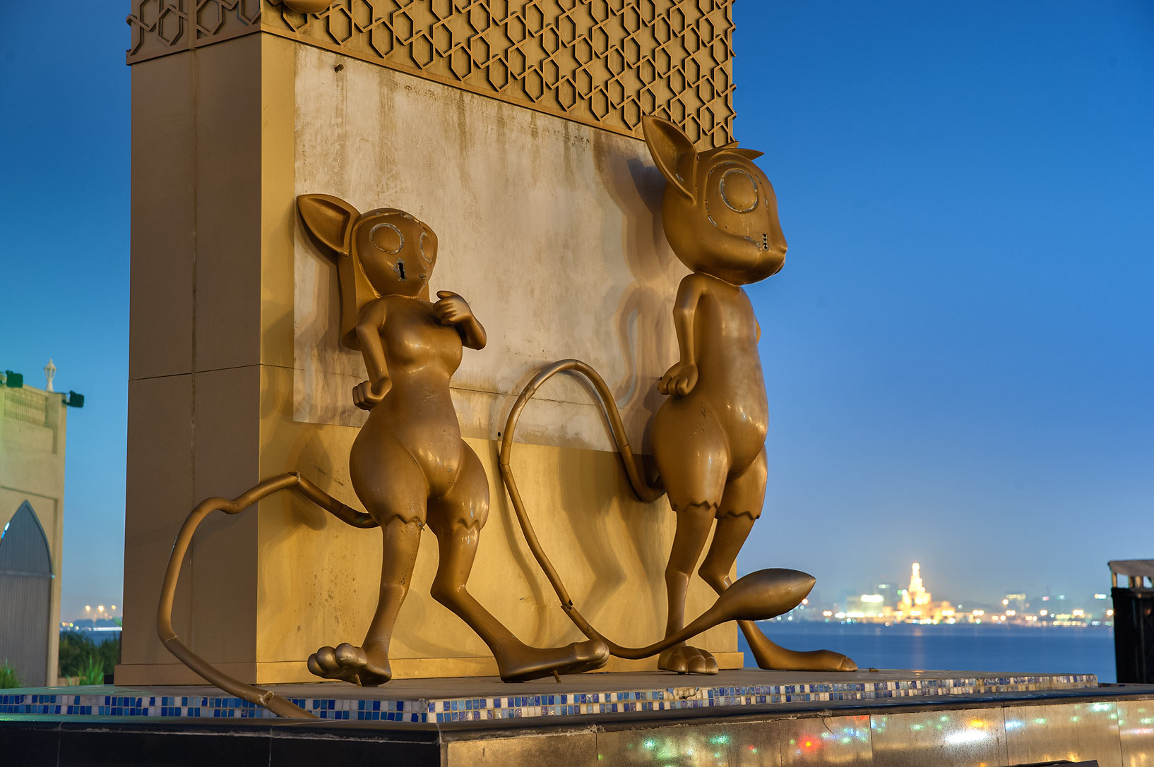 Countdown clock with mice attached on Corniche promenade. Doha, Qatar