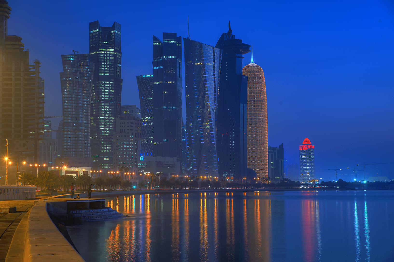 Towers of West Bay from Corniche promenade at morning. Doha, Qatar