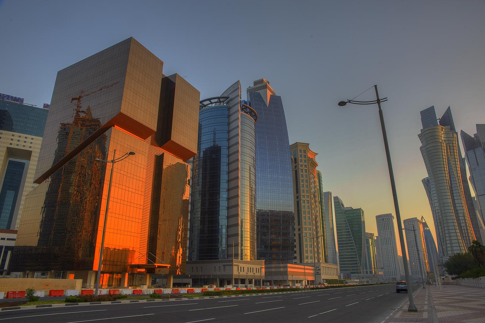 Majlis Al Taawon St. in West Bay at morning. Doha, Qatar