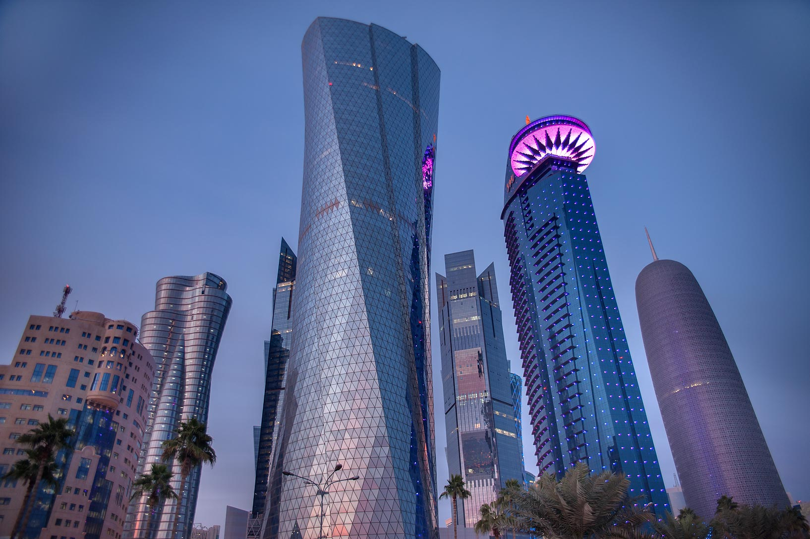 Doha, Qatar  - Al Bidda Tower at evening. Doha, Qatar