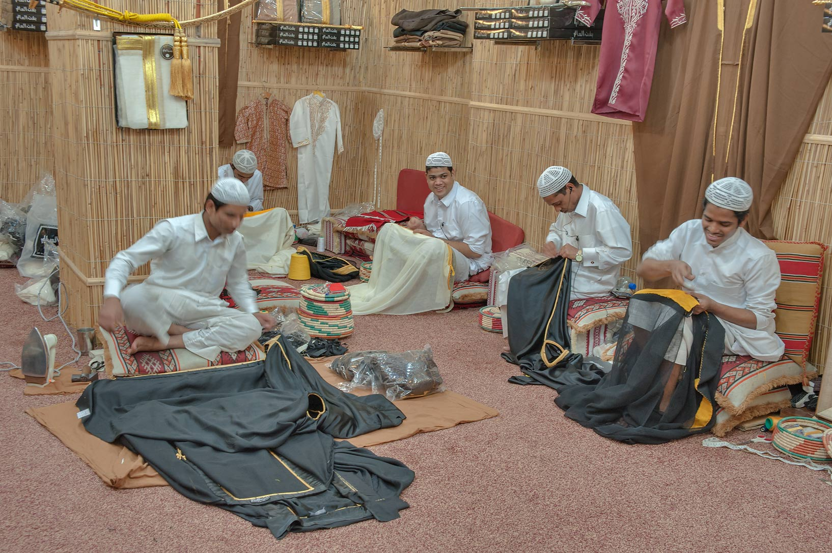 Textile sewing shop in Souq Waqif (old market). Doha, Qatar
