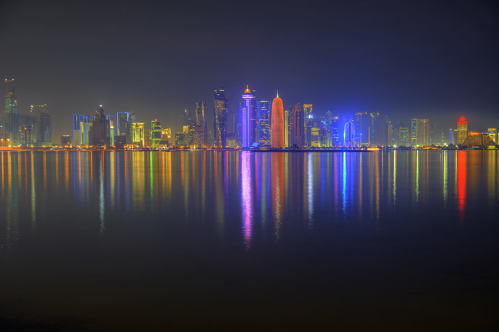 West Bay from Corniche promenade at evening. Doha, Qatar