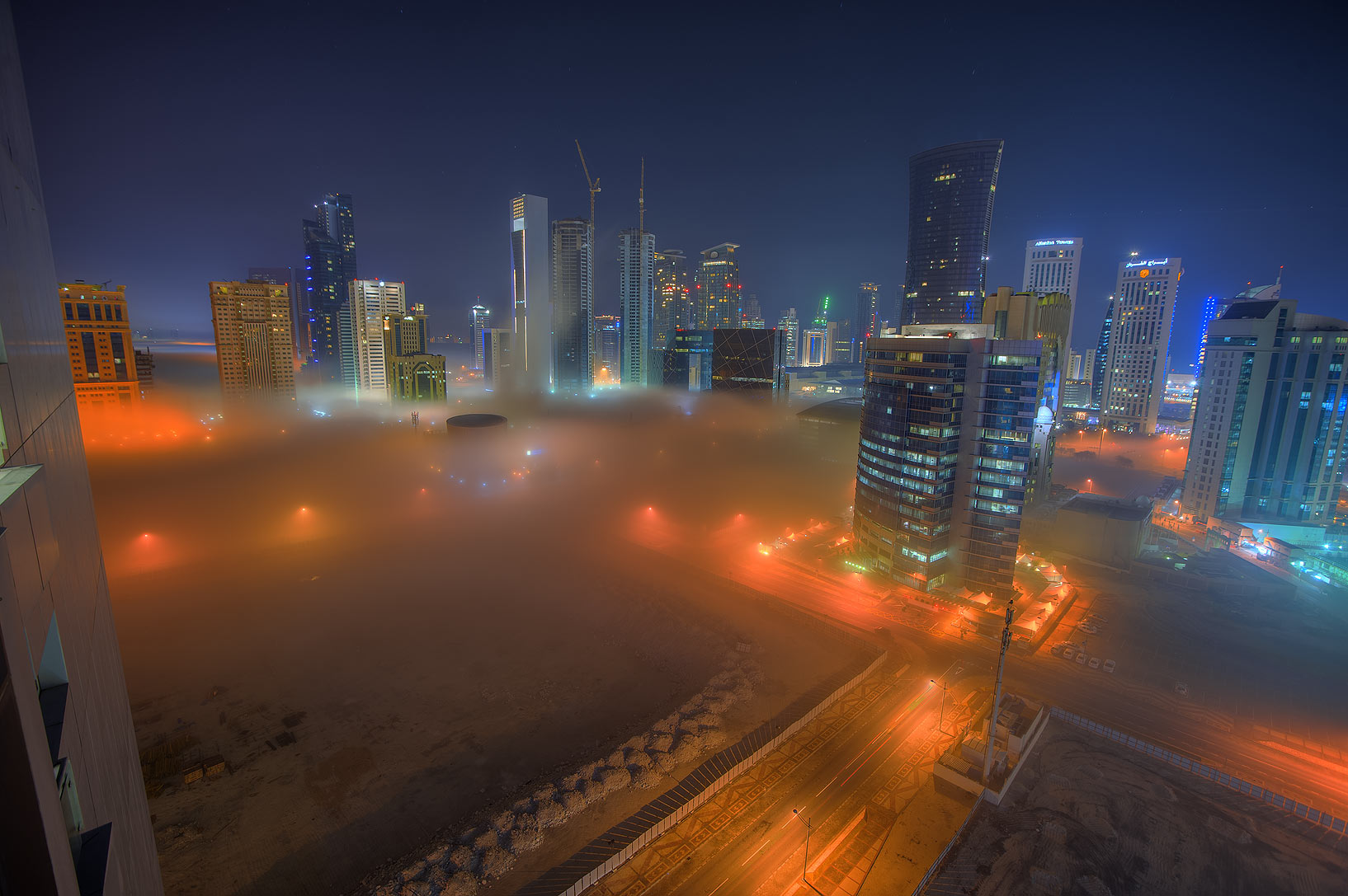 Fog in West Bay from Room 1604 of Dareen Tower. Doha, Qatar