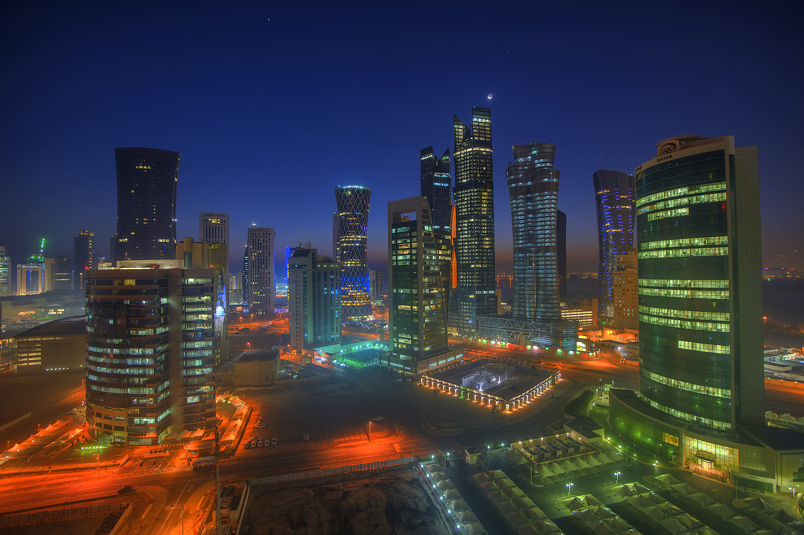West Bay to the east from a balcony of Room 1604 of Dareen Tower at dusk. Doha, Qatar